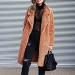Long Casual Faux Fur Warm  Lapel Long Sleeve Open Front Coat