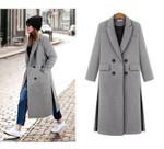 Simple Notched lapel Woolen Cashmere Long Coat