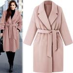 warm Lapel long Wool Loose Lace blend coat
