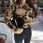 long sleeve Casual Sexy leopard knitted pullover sweater