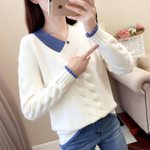 Knitted Pullovers Casual Long Sleeve Warm V-Neck Sweater
