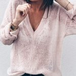 Long Sleeve Knitted Pullovers Sexy Slim Hollow Out V-Neck Thin Sweaters