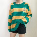 Pullover Punk Striped Cartoon Racket Loose Sweater