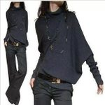 fashion shoulder collapse  loose pullover sweaters