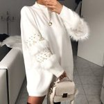 Warm thick Knitted Pullover Pearl loose Sweater