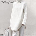 Turtleneck Split Long Sleeve Knitting Hollow Out Sweater