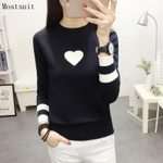 Heart Elastic Stretchy Long Sleeve Knitted Pullovers Sweater