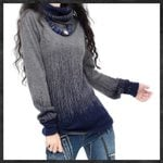 Turtleneck Thick Pullovers Gradient Vintage Cashmere Sweater