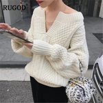 Long Sleeve Beige Pullover Fashion Twist Knitted V-neck Sweater