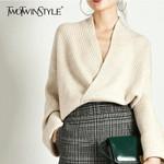 Long Sleeve V Neck Pullover Elegant Knitting Sweater