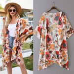 Cardigan Chiffon Loose Open Front Printed Chiffon Kimono