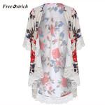 Cardigan Shawl Lace Rose Printing  Fashion Kimono
