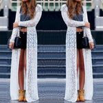 Cardigan Sheer Open Front Long Elegant Floral Lace Kimono