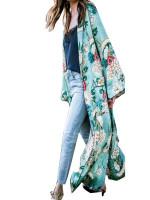 Cardigan Long Blouse Floral Print Chiffon Kimono
