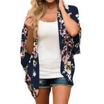 Loose Half Sleeve Shawl Print Cardigan Chiffon Floral Kimono