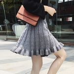 Vintage Fashion Pleated Ruffles Skater  Knitting Mini Skirt