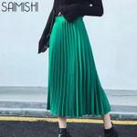 Fashion High Waist Pleated Half Length Elastic Skirt