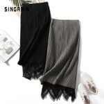 stripe lace pencil high waist knitting knitted sweater skirt