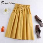 Fashion Button Pocket A-line High Waist  Cotton Skirt