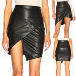 Fashion Cross Short Casual Faux Leather Mini Skirt