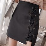 Lace-Up Package Hip Office High Waist A-Line Mini Skirts