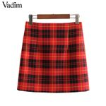 back zipper checkered A line casual fashion  plaid mini skirt