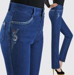 high waist elastic straight casual jeans