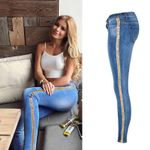 Slim Sequin Low Waist Fashion Side Stripe Skinny Jeans