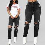 Hole High Waist Stretch Slim Sexy Pencil Fashion Jeans