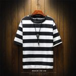 Round Neck Fashion Tide Striped  Casual T-shirt