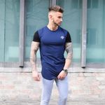 Stitching Cotton Fashion Wave Fitness Casual Round Neck Short Sleeved T shirt