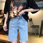 Slim High Waist Straight Soft Chic Pockets Tassel Elegant Denim Short
