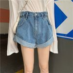 Fashion Retro High Waist Wide Leg Denim Shorts