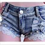 Fashion cotton Lace Skinny low waist Sexy Lace jeans denim shorts