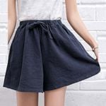 Solid High Waist Casual Shorts Fashion Loose Hot Shorts