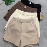 Casual High Waist Button Thicken Warm Mink fur Shorts