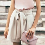 Apricot Pockets Vintage Elegant High Waist Sashes Shorts