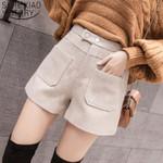 Pockets High Waist Fashion Apricot Shorts