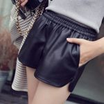 Pockets Loose Casual  PU Leather Shorts
