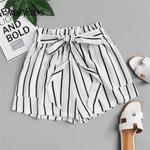Casual Shorts Striped Frill Trim Tie Waist Shorts