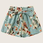 Flowers Print High Waist Bandage Casual Loose shorts