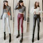 Elastic Stretch Skinny Faux Thin Velvet PU Leather Pants