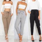 Fashion Pocket High Waist Casual Drawstring Elastic Long Pants