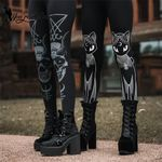 Workout Cat Printing Skull Gothic Leggings
