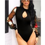 Floral Print Hollow Out Sexy Sheer Sexy Mesh Long Sleeve Bodysuit