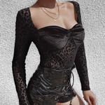 Sexy Sheath Square Neck Mesh Leopard Print Long Sleeve Bodysuit