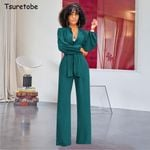 Wide Leg Pants Sleeve Buttons Elegant V-Neck Casual Bandage Jumpsuit