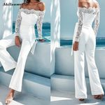 Long Sleeve Fitness Backless Sexy Off Shoulder Lace Jumpsuit