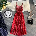 Vintage Dot Bow Waistband Backless Sexy Camisole Jumpsuits