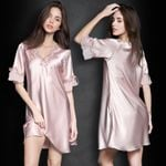 Sexy Silk Satin Short Sleeve Lace Nightdress V-Neck Sleepwear